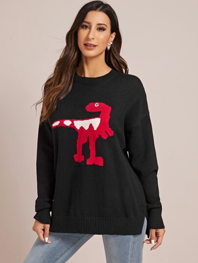 Cartoon Dinosaur Pattern Side Split Sweater