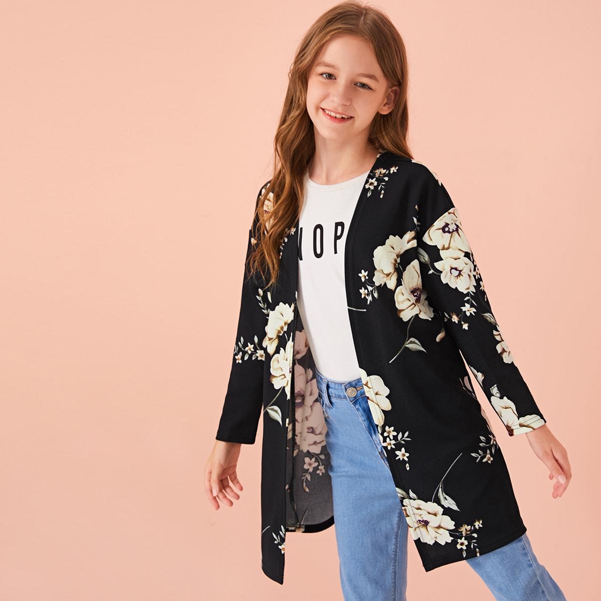 Mantel mit offener Vorderseite, sehr tief angesetzter Schulterpartie und Blumen Muster