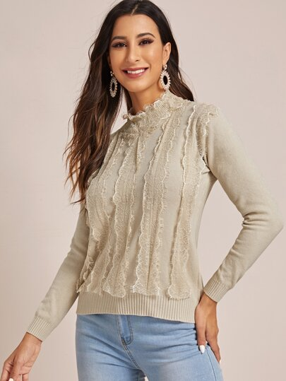 Contrast Lace Mock Neck Sweater