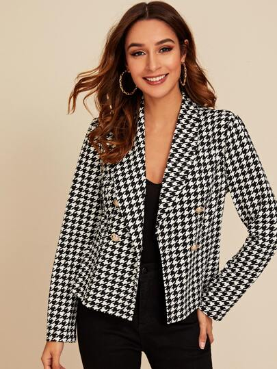 Shawl Collar Houndstooth Blazer