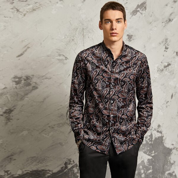 Men Curved Hem Paisley Print Shirt, Multicolor