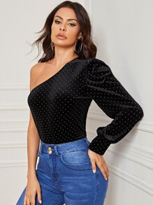 One Shoulder Polka Dot Print Velvet Tee
