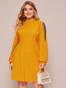 Plus Mock Neck Contrast Dobby Mesh A-line Dress