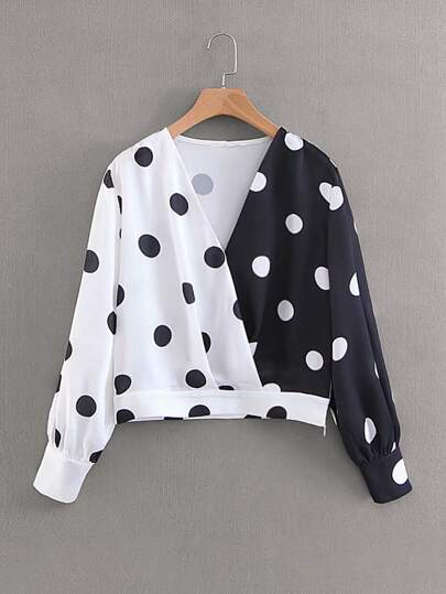 Polka Dot Color-Block Surplice Front Blouse