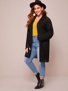 Plus Drop Shoulder Open Front Cardigan
