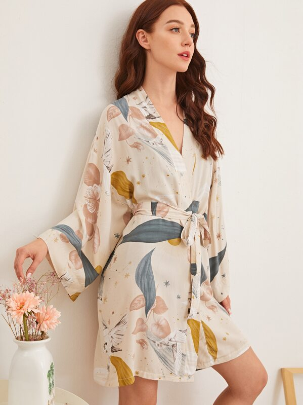 Leaf Print Self Belted Robe, Multicolor, Poly