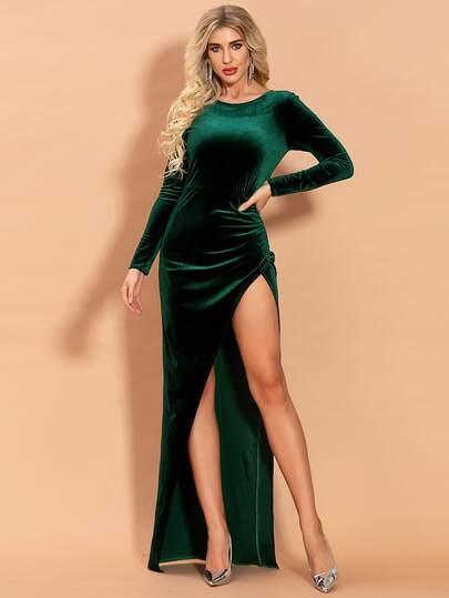 Missord Split Thigh Velvet Prom Dress