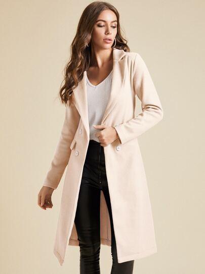 SBetro Notch Collar Flap Detail Belted Pea Coat