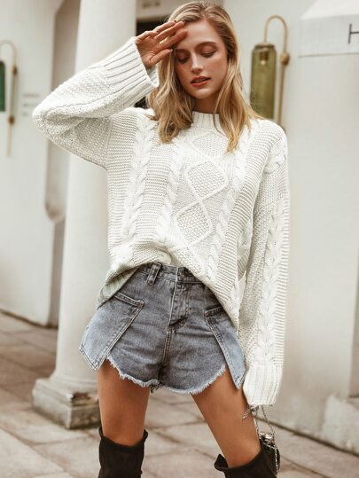 Simplee Drop Shoulder Cable Knit Sweater
