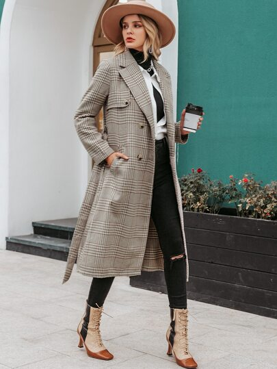 Simplee Double Button Belted Plaid Coat