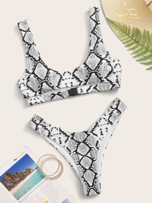 Snakeskin Cut-out Top With High Cut Bikini Set