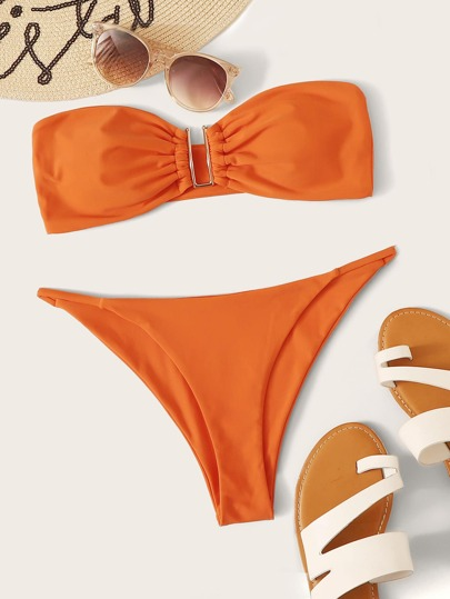 Bandeau With Thong Bikini Set