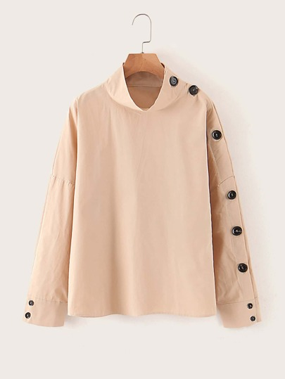 Button Side Stand Collar Blouse