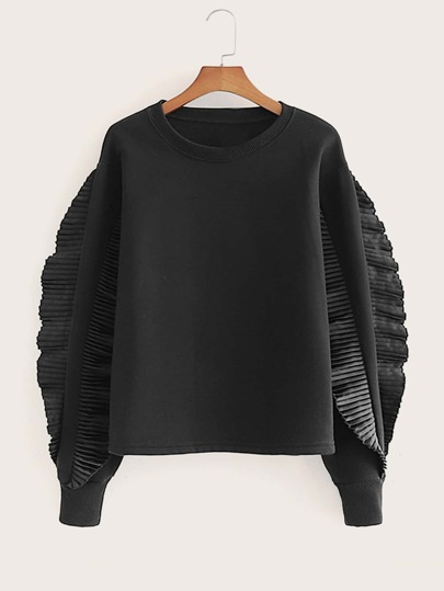 Pleated Ruffle Trim Sweatshirt