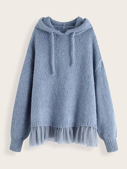 Contrast Mesh Drawstring Hooded Sweater