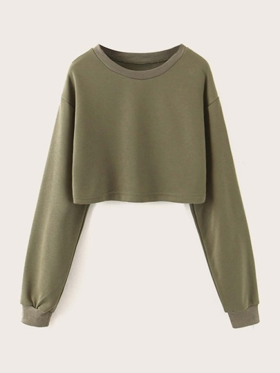Solid Round Neck Crop Sweatshirt