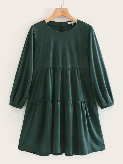 Ruffle Hem Smock Suede Dress