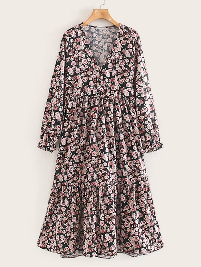Ditsy Floral Print Ruffle Hem Dress