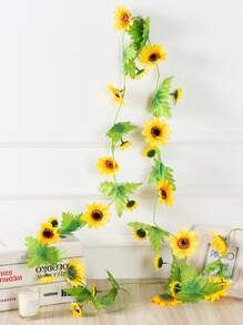 2.4M Artificial Sunflower & Leaf Decoration