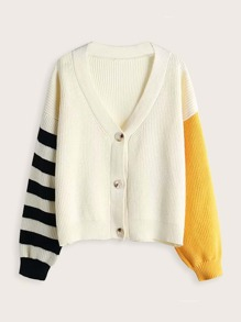 Colorblock Striped Button Front Cardigan