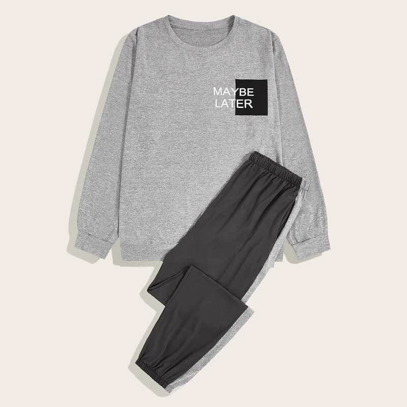 Guys Letter Graphic Sweatshirt & Pants PJ Set, Grey