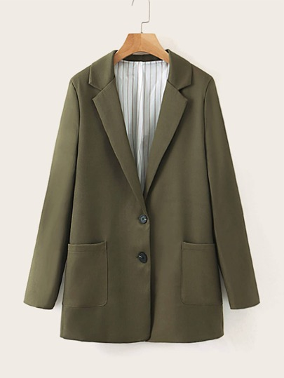 Lapel Collar Single-Breasted Blazer