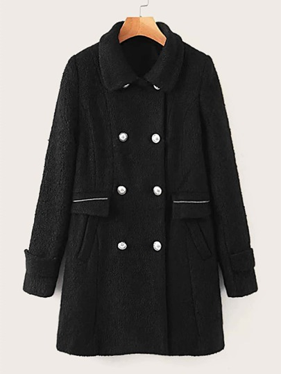 Double Button Pocket Side Overcoat
