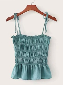 Shirred Frill Ruffle Hem Cami Top