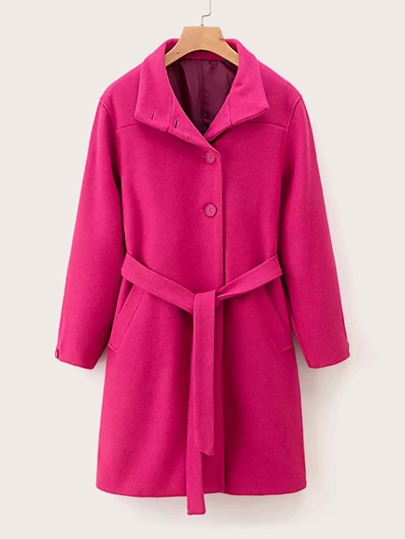 Neon Pink Belted Single Breasted Tweed Coat