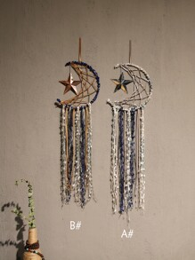 1pc Star & Moon Design Tassel Dream Catcher