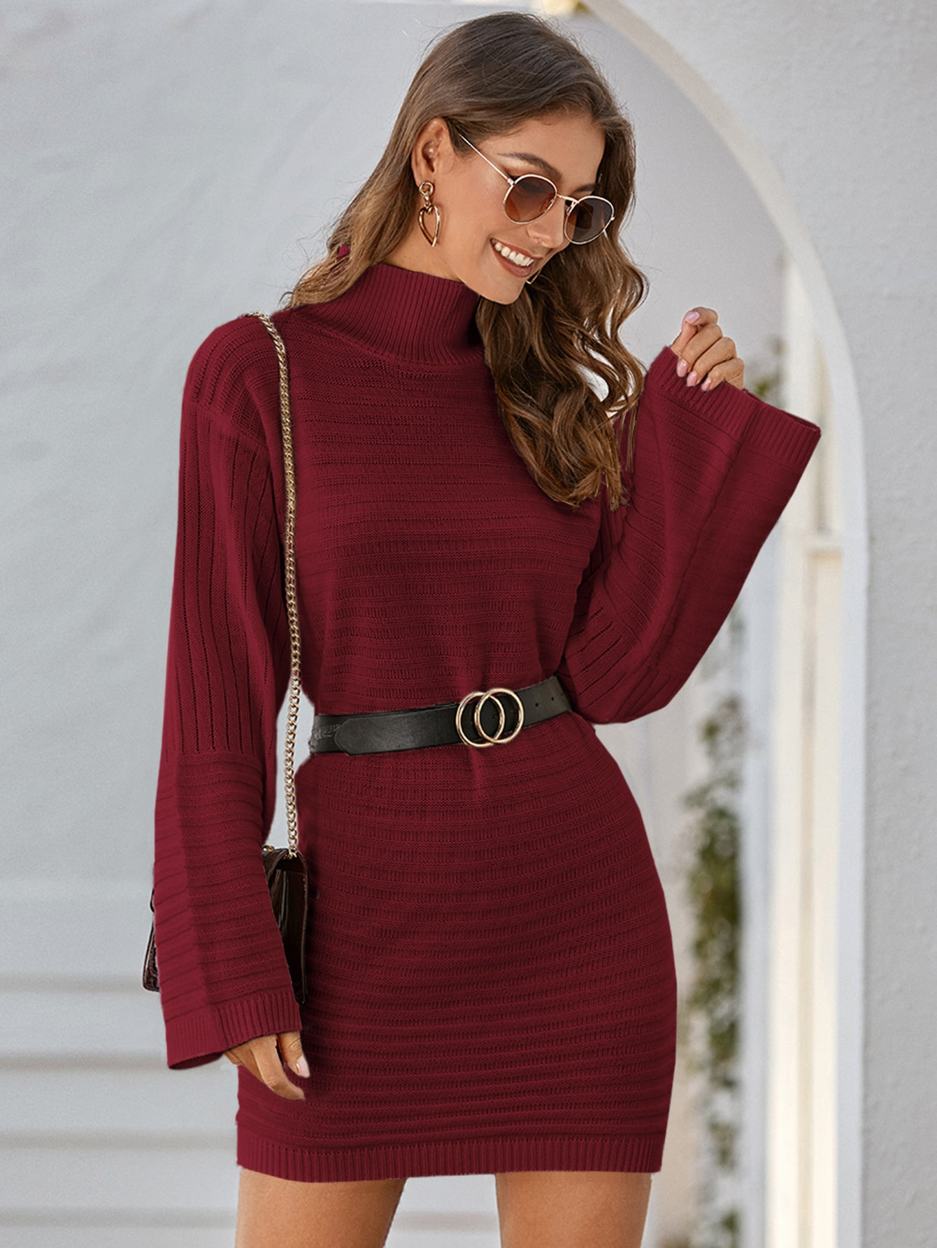 High Neck Drop Shoulder Sweater Dress Without Belt thumbnail