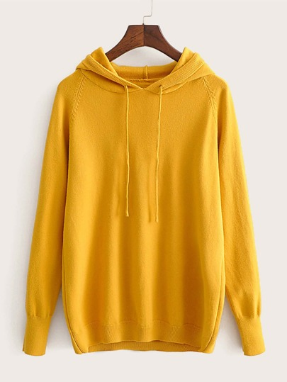 Raglan Sleeve Drawstring Hooded Sweater