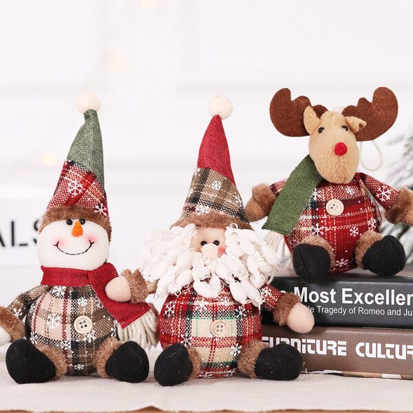 1pc Christmas Doll Ornament, Multicolor