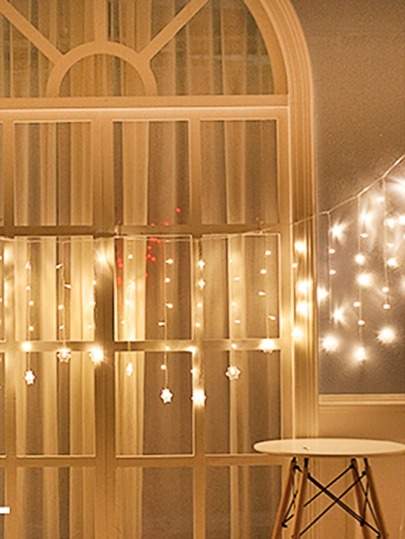 90pcs Led Christmas Snowflake Curtain String Light