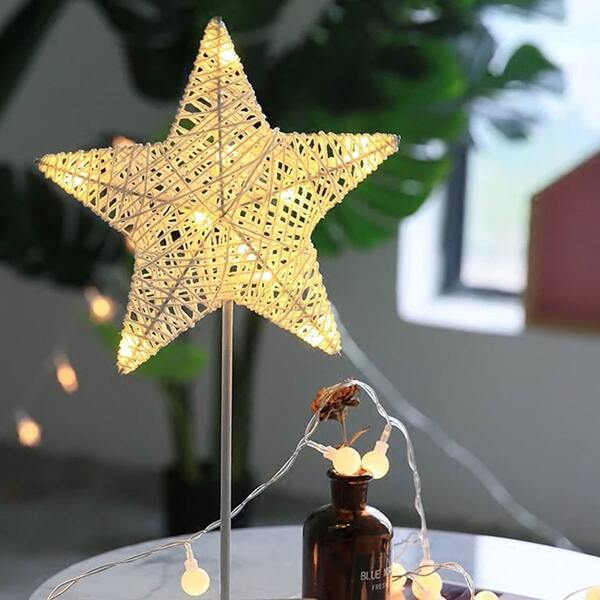 1pc Star Shaped Table Lamp, Yellow