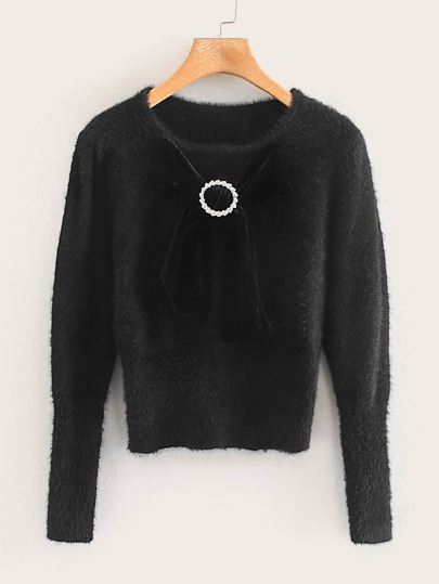 Fluffy Bow Front Ring Detail Sweater