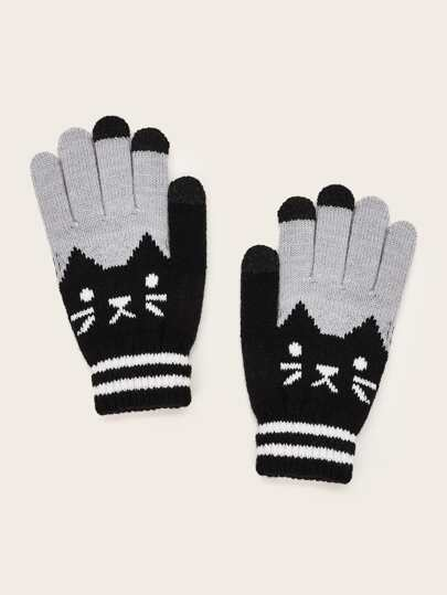 1pair Colorblock Knitted Gloves