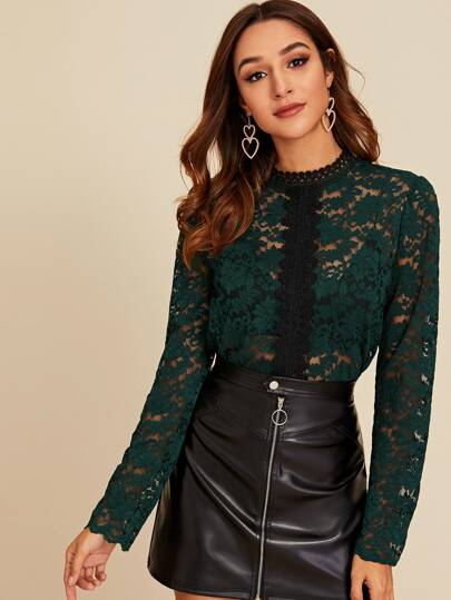 Guipure Lace Scallop Trim Sheer Blouse