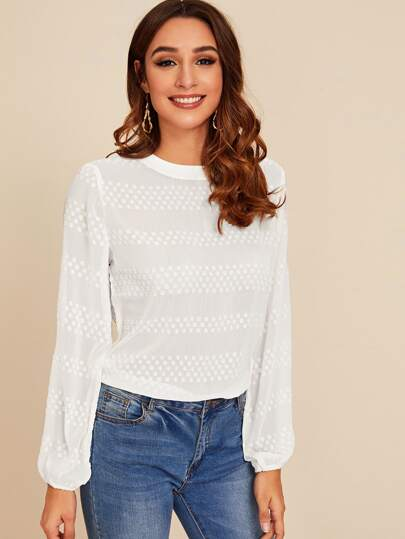 Solid Crew Neck Lantern Sleeve Blouse