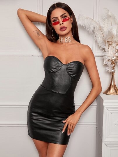PU Leather Tube Bodycon Dress