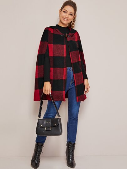 Buffalo Plaid Buffle Hooded Cape Coat