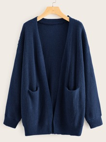Open Front Double Pocket Cardigan