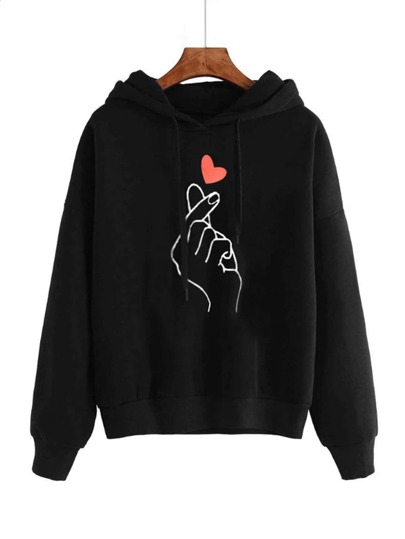 Hand And Heart Print Drawstring Hoodie