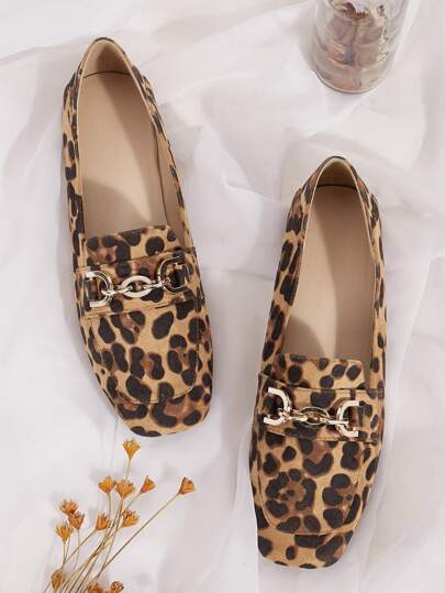 Metal Decor Leopard Pattern Flat Loafers