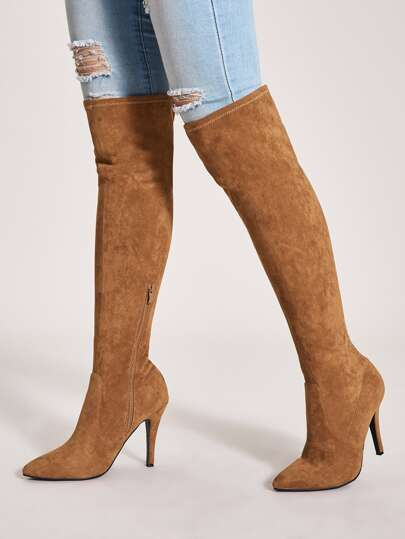 Point Toe Over The Knee Stiletto Heeled Boots