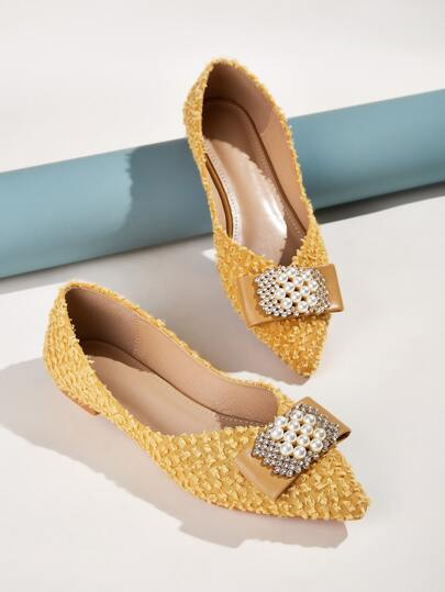 Faux Pearl & Rhinestone Decor Point Toe Flats