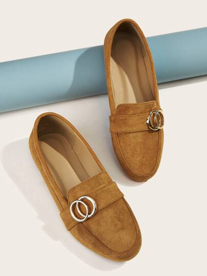 Metal Ring Decor Suede Loafers