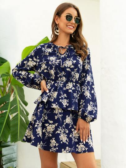 Tie Neck Floral Print A-line Dress