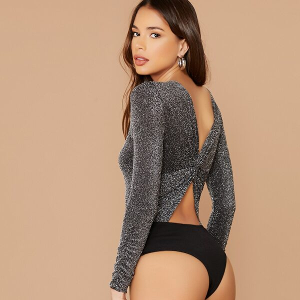 Cutout Twist Back Glitter Bodysuit, Grey
