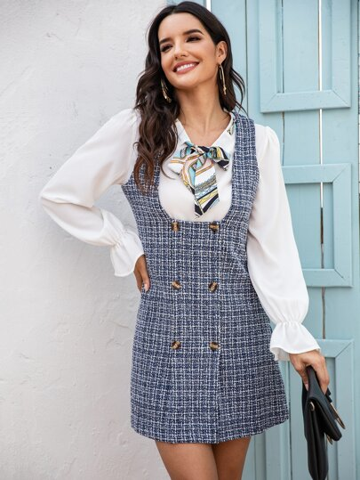 Double Breasted Tweed Pinafore Dress